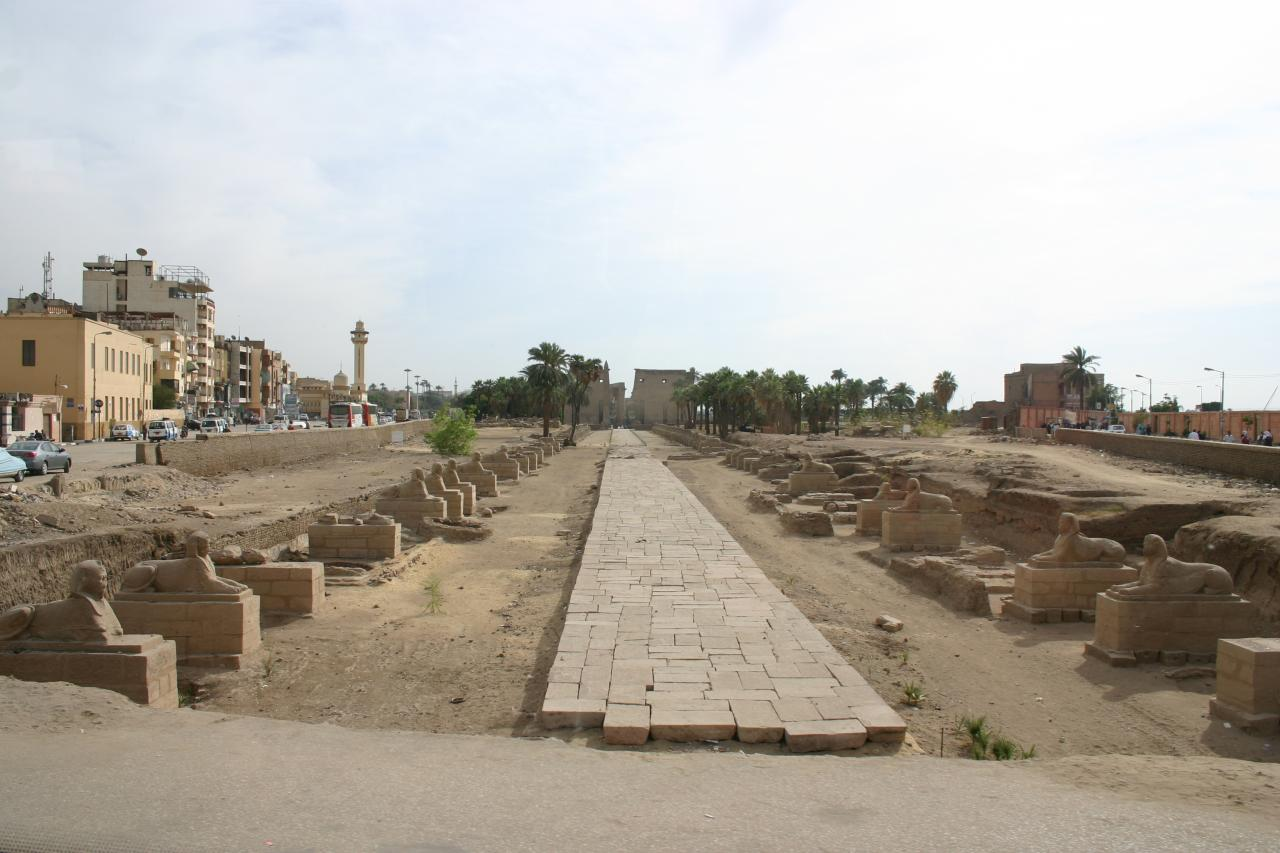 Le chemin des sphinx au milieu de la ville de louxor